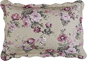 MarCielo 2-Piece Embroidered Quilted Pillow Shams, Standard Size, Queen Size (Taupe Rose)