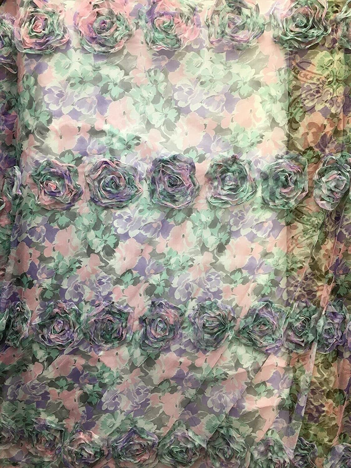 Fabric by The Yard - Embroidered Peach Multicolor Floral Rosette 25% OFF wholesale