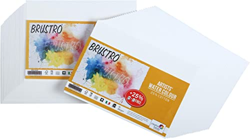 Brustro Artists' Watercolour Paper 200 GSM A5-25% Cotton Cold Pressed 2 Packets (Each Packet Contains 24 + 6 Sheets F...