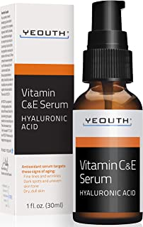 YEOUTH Vitamin C and E Day Serum with Hyaluronic Acid, anti aging skin care product/anti wrinkle serum will fill fine lines, even skin tone and fade age spots.