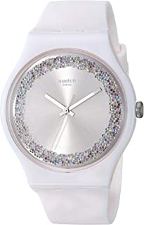 Swatch 1809 Think Fun Quartz Silicone Strap, Pink, 19 Casual Watch (Model: SUOP110)