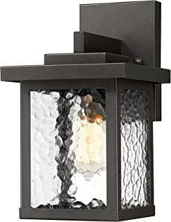 TENGXIN Outdoor Wall Sconce,Wall Lantern,Proch Light,Black Finished with Corrugated Glass,E27,UL Listed,1 Pack,Suitable for Garden & Patio Lights(TXFKWL0016BBW)