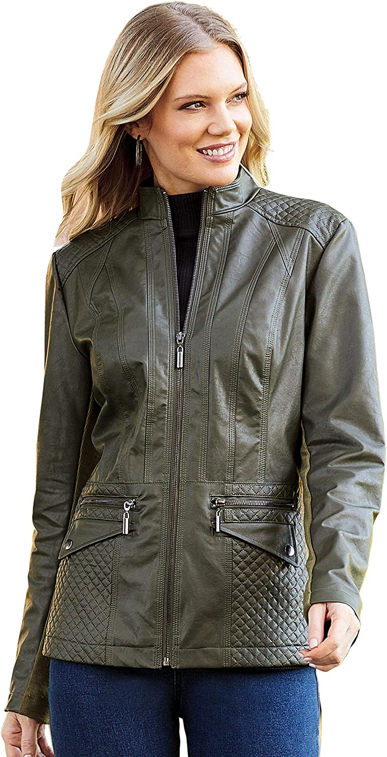 Anthony Richards Women's Faux Leather Jacket with Front Zipper and Quilted Shoulders