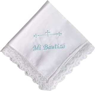 Pañuelo bautizo bordado azul color blanco 35x35 cm