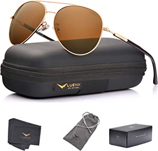 Mens Aviator Sunglasses Polarized :UV 400 Protection shades with case 60MM