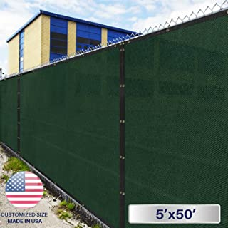 Windscreen4less Heavy Duty Privacy Screen Fence in Color Solid Green 5' x 50' Brass Grommets w/3-Year Warranty 150 GSM (Customized Sizes Available)