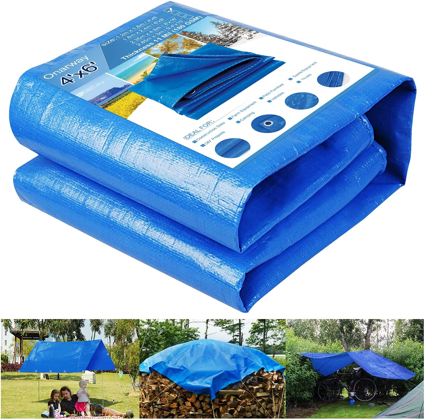 Onarway Tarp 4' X 6' Thicken 11 Mil Heavy Duty Waterproof Tarpaulin with Grommets, for Outdoor Shelter, Roof Cover, Garden Shade, Camping, Ground Sheet