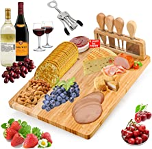 Bamboo Cheese Board and Knife Set - 8 PCS Charcuterie Board Set Include Cheese Knives Wine Opener Ceramic Bowl for Wine, C...