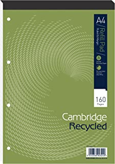 Cambridge Recycled Refill Pad A4 - Card Cover A4 Head Bound Refill Pad Ruled 160 Page Pack Of 5