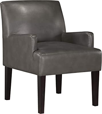Work Smart Main Street Upholstered Guest Chair with Espresso Finish Legs, Pewter Faux Leather
