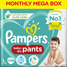 Pampers Baby Dry Pants Diapers Monthly Mega Box, Large, 128 Count