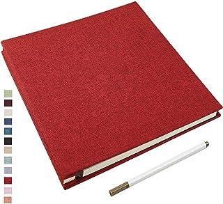 Yopih Album Photo Adhésif avec Pages Collantes Lin en Tissu Couverture Scrapbooking 33 X 32 cm Supplémentaire Grand DIY Ma...