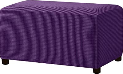 Hokway Stretch Ottoman Cover Storage Stool Slipcover Oversize Jacquard Rectangle Footstool Cover with Elastic Bottom (Violet)