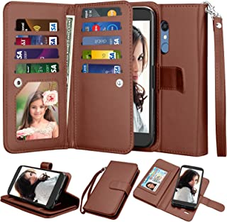 Njjex LG K10 2018/ LG K30 Wallet Case, LG Premier Pro LTE/Xpression Plus/K30 Plus/Harmony 2/LG Phoenix Plus Case, PU Leather [9 Card Slots] ID Credit Kickstand Detachable Magnetic Flip Cover - Brown