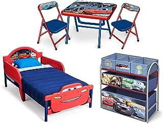 طقم سرير اطفال بتصميم سيارات من دلتا للاطفال مع طاولة وكرسي وتخزين - عبوة من 1 قطعة