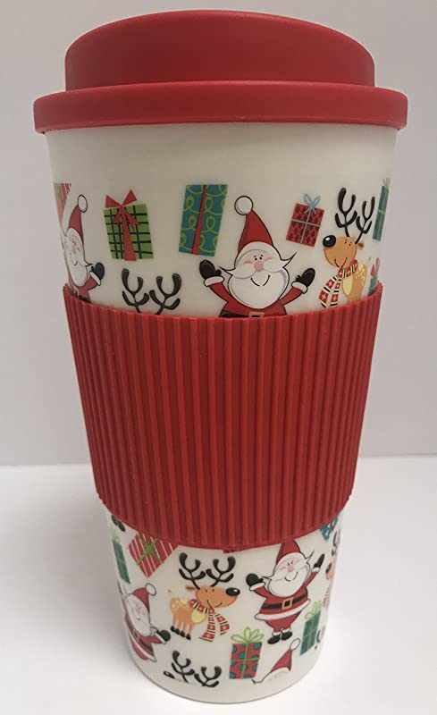 Christmas Themed Double Wall Travel Coffee Tea Tumbler Cup With Lid