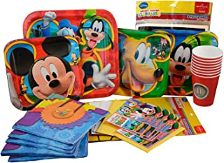 Mickey Mouse Party Supplies Birthday Pack. Mickey and Friends Clubhouse Ultimate Party Supplies Set: Dinner, Dessert Paper Plates, Napkins, Birthday Invitations, TableCover, Paper Cups, Goodies Bags