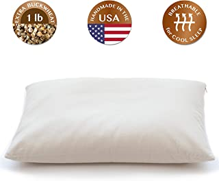 """ComfyComfy Buckwheat Hull Pillow, Traditional Size (14"""" x 21""""), with Extra 1 lb of Buckwheat Hulls for Customization, Breathable for Cool Sleep, USA Grown Buckwheat and Durable Cotton Twill"""