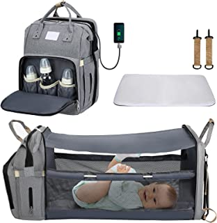 5 In 1 Diaper Bag Backpack,CHARMINER Baby Nappy Changing Station,Multifunction Baby Bed Travel Back Pack with USB,Waterpro...