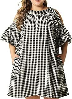 Women Plus Size Casual Strapless Short Sleeve Plaid Dress