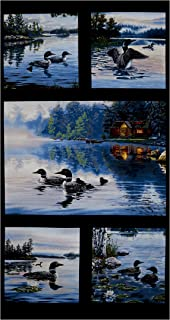 Elizabeth's Studio Loons Lake Life Main 23in Panel Black Fabric