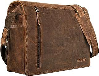 """STILORD Noah"""" Vintage Umhängetasche Leder 13,3 Zoll Laptoptasche Studium Uni Büro Arbeit Unisex für MacBook echtes Rindsleder, Farbe:mittel - braun"""