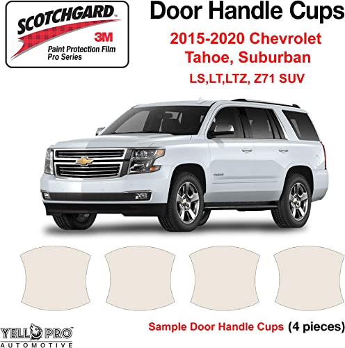 popular YelloPro Custom Fit Door Handle Cup 3M Scotchgard Anti Scratch Clear discount Bra Paint Protector discount Film Cover Self Healing PPF Guard for 2015 2016 2017 2018 2019 2020 Chevrolet Tahoe, Suburban SUV outlet online sale