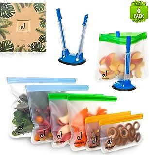 PEVA storage bags | (6 pack) | reuseable sandwich bags, snack bags, storage bags