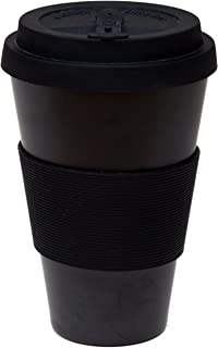 Reusable Coffee Cup Travel Mug Eco-Friendly Bamboo Fibre Silicon Natural 15oz (Black)