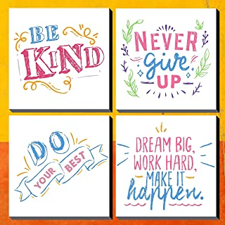 Poylaamo, Set of 4 Motivational Quote Wall Painting Framed on Mdf Board. Size: 7.5X7.5 inches each. (MDF Board Frame)