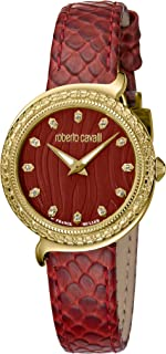 ROBERTO CAVALLI Women's RC-66 Stainless Steel Swiss Quartz Watch with Calfskin Leather Strap, Red, 22 (Model: RV2L028L0036)