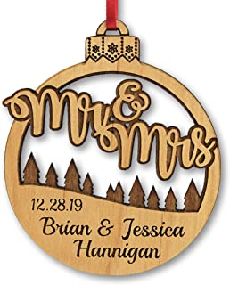 Mr and Mrs Christmas Ornament Engraved Personalized Rustic Holiday Wedding Gift Favor for Couples Bride Groom Just Married Custom Ornaments
