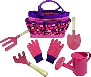 Kids Gardening Tool Set - Real Metal Child Sized Hand Tools with Wooden Handles & Safety Edges; Shovel, Rake & Pitch Fork ...