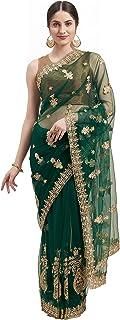 Womanista net with Blouse Piece Saree (TI1221_ Dark Green_ Onesize)