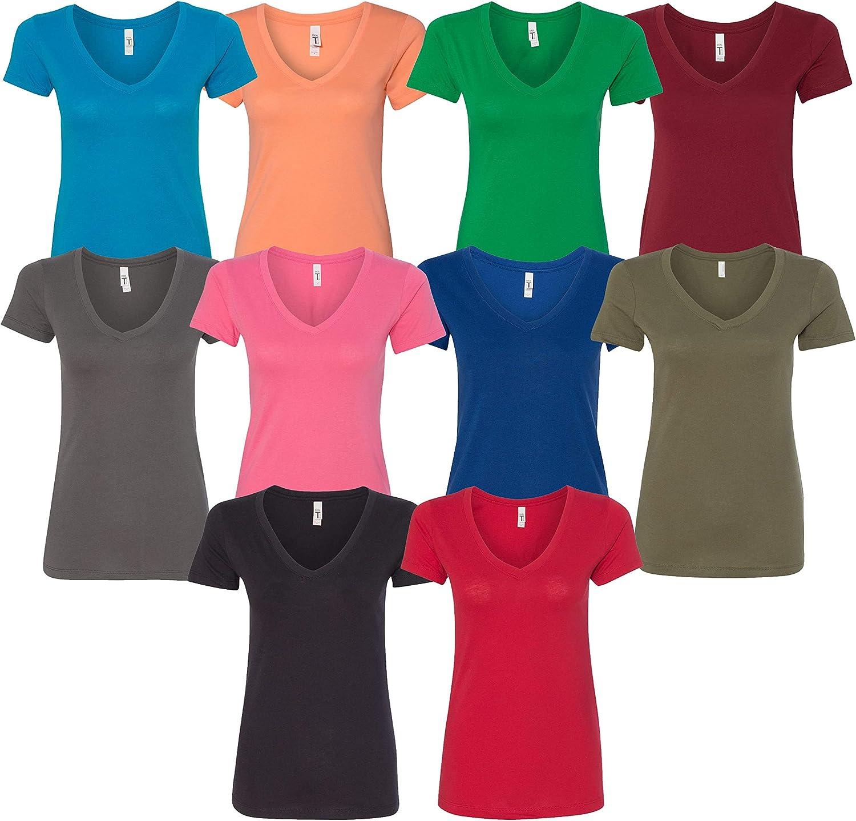 Next Level Multipack Womens Bundle V-Neck Bulk T-Shirts (3, 6, 10 Packs) - Make Your Own Assorted Color Set