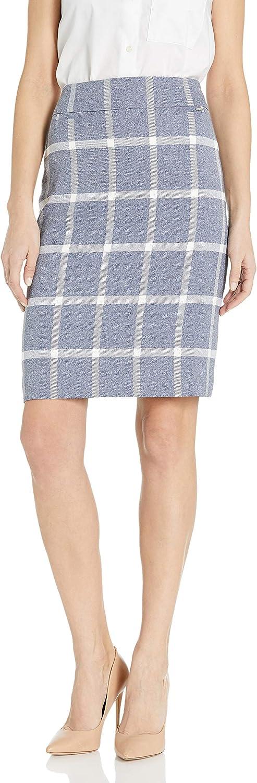 Tahari ASL Women's Plaid Pencil Skirt with Pockets