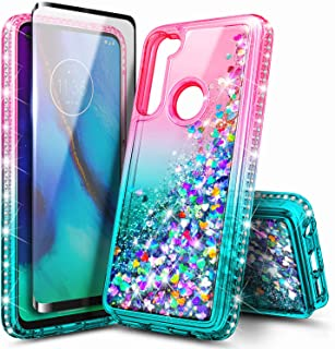 Sponsored Ad - E-Began Moto G Fast Case with Tempered Glass Screen Protector, Glitter Flowing Liquid Floating Quicksand w/...