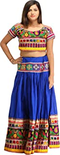 Princess-Blue Two-Piece Embroidered Lehenga Choli with Mirrors and