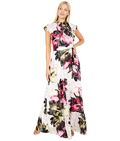 Tahari by ASL Printed Clipped Chiffon Floral Maxi with Flutter Sleeve