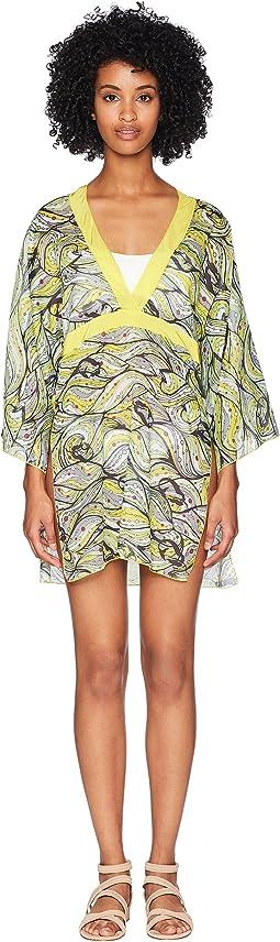 Mermaid Print Collar Caftan