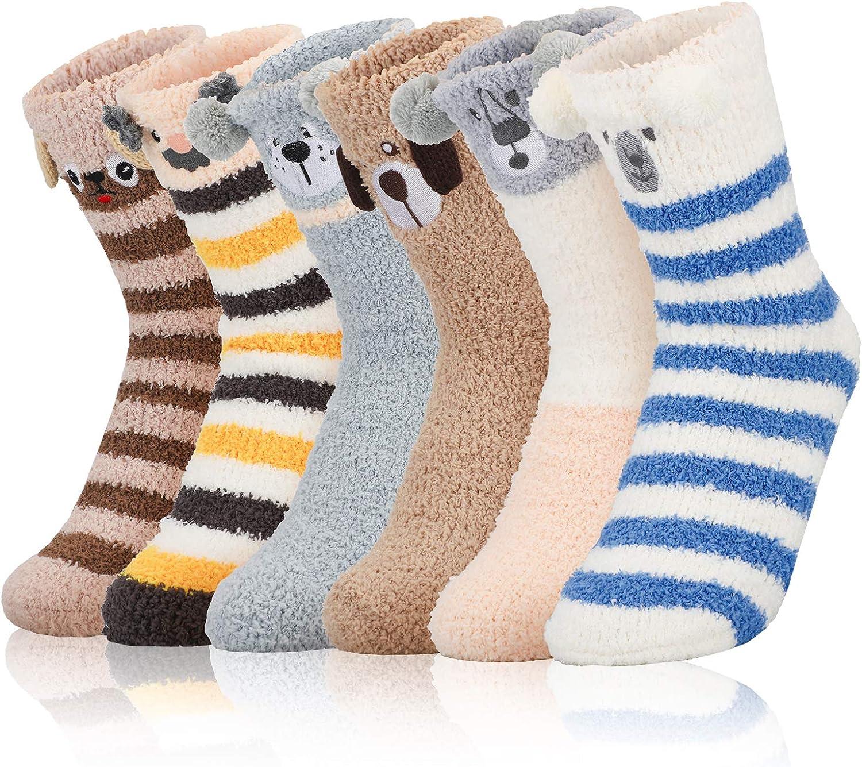 6 Pairs Womens Fuzzy Socks Plush Slipper Socks Soft Winter Warm Cozy Home Sleeping Socks Fits Size 6-10