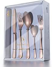 DON BELLINI 20-Piece Silverware Flatware Cutlery Set, Stainless Steel Utensils Service for 4, Include Knife/Fork/Spoon, Stone Wash Antique, Dishwasher Safe (Brass)