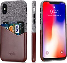 Lopie [Sea Island Cotton Series] Slim Card Case Compatible for iPhone X/10 2017, Fabric Protection Cover with Leather Card Holder Slot Design, Dark Brown