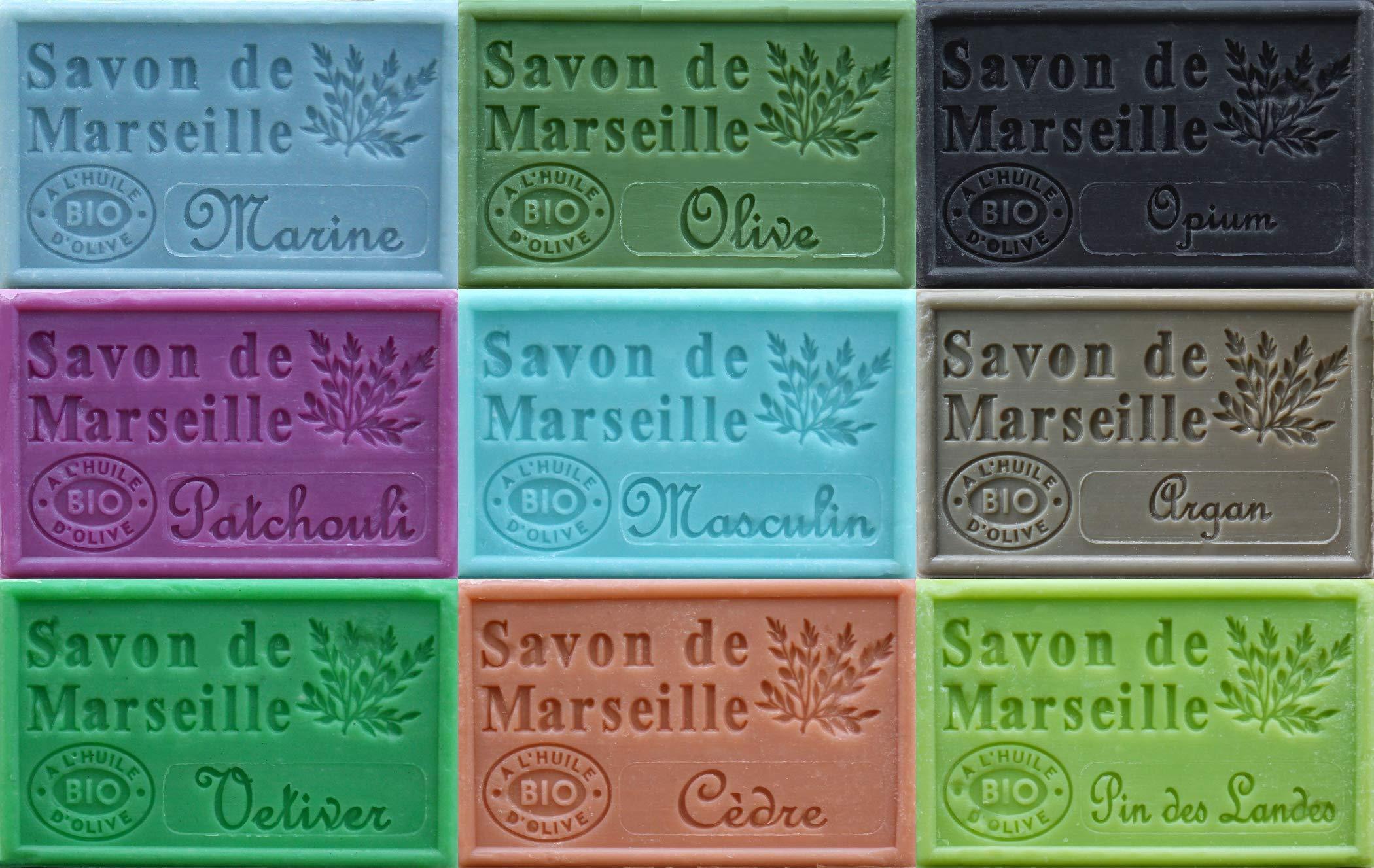 Savon de Marseille French Soaps, Boxed Set of 9 x 125g Soap Bars (Masculine Fragrances), Vegetable Soap