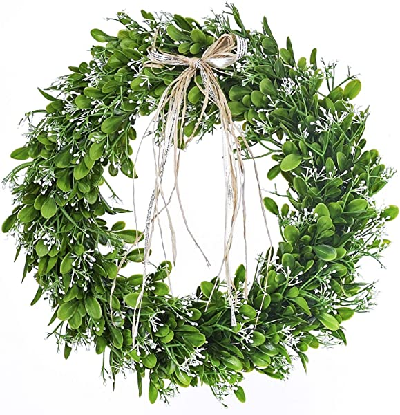 16 Inch Artificial Green Leaf Wreath With Bow Spring Front Door Wreath St Patricks Day Wreaths For Front Door