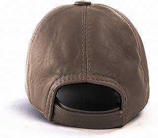 Bonamaison Unisex Genuie Leather Baseball Hat with Velcro