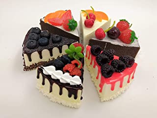 NICE PURCHASE Fake Slice Cake Fake Food Bakery Shop Cake Display Model Party Decoration 4 inch Slice Faux Replica Cake