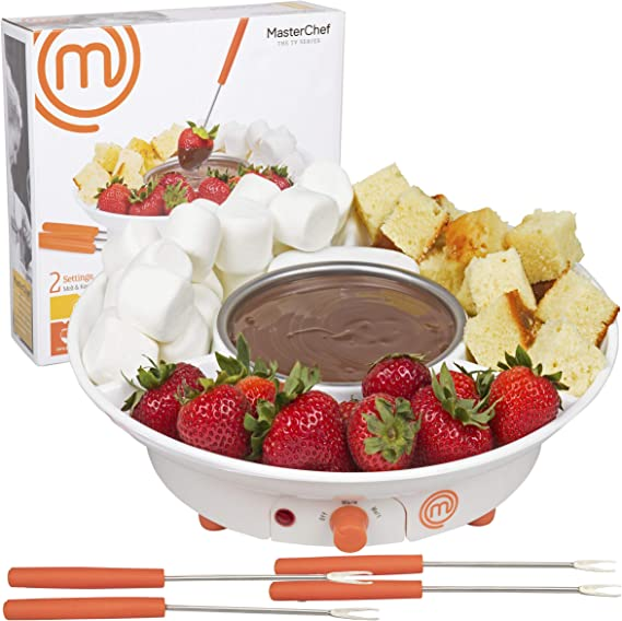 MasterChef Chocolate Fondue Maker- Deluxe Electric Dessert Fountain Fondue Pot Set with 4 Forks and Party Serving Tray (1)