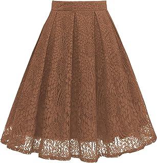 e8b0620ab27 Girstunm Women High Waist Pleated A-Line Knee Length Lace Pockets Skirt