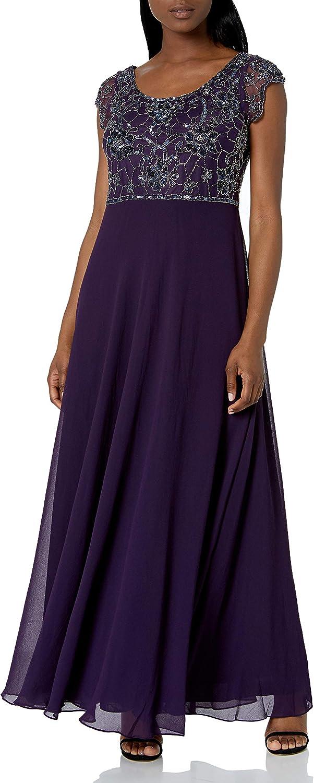 J Kara Women's Petite Long Dress with Flutter Sleeve